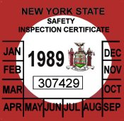 1989 New York Inspection sticker