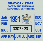 1991 NY inspection sticker
