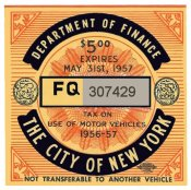 1956-57 New York City TAX Stamp
