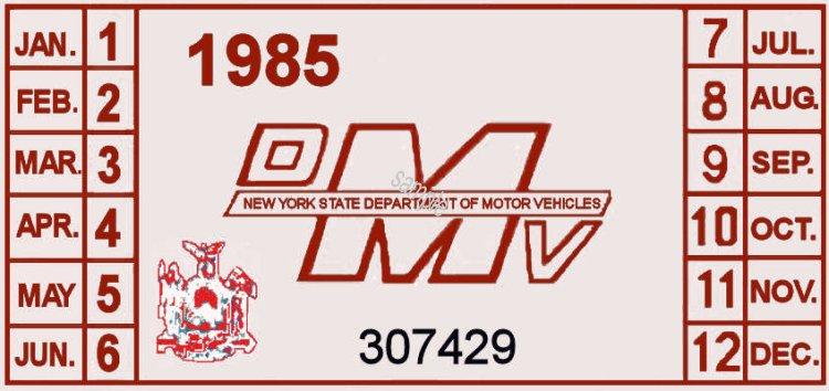 1985 New York Inspection sticker - $20 00 : Bob Hoyts