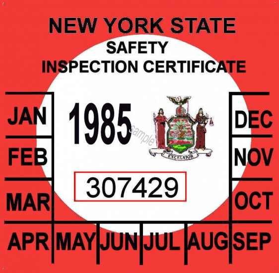 1985 New York Inspection Sticker 20 00 Bob Hoyts Classic