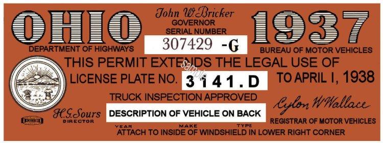 1937 Ohio Auto registration/Inspection sticker - $20 00