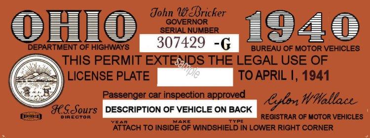 1940 Ohio Registration/inspection sticker - $20 00 : Bob