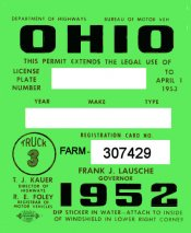 1952 Ohio Farm Truck regitration/inspection