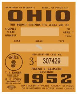 1952 Ohio Registration/inspection sticker TRUCKS
