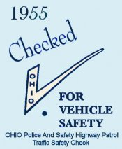 1955 Ohio Safety check sticker
