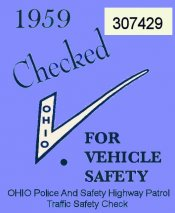 1959 Ohio Safety Check Inspection Sticker