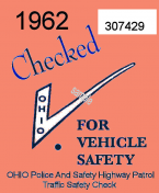 1962 Ohio Safety Inspection Sticker