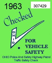 1963 Ohio Safety Inspection Sticker
