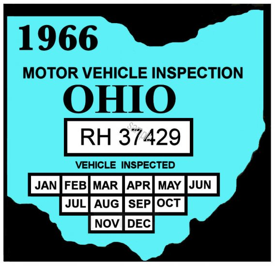 1966 Ohio state inspection sticker - $20 00 : Bob Hoyts