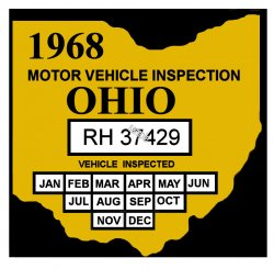 1968 Ohio INSPECTION Sticker