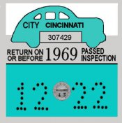 1969 Ohio Cincinnati Inspection Sticker
