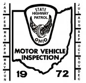 1972 Ohio INSPECTION Sticker