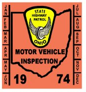 1974 Ohio INSPECTION Sticker