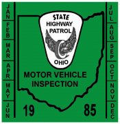 1985 Ohio Inspection sticker