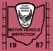 1987 Ohio inspection sticker