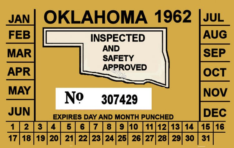 1962 Oklahoma inspection sticker - Click Image to Close