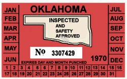 1970 Oklahoma INSPECTION Sticker