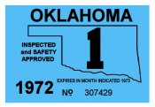1972-1 Oklahoma INSPECTION Sticker