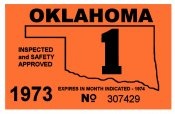 1973-1 Oklahoma Inspection Sticker