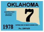 1978-7 Oklahoma INSPECTION Sticker