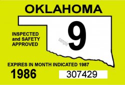 1986 Oklahoma, inspection sticker