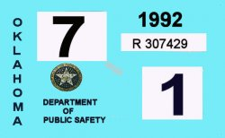 1992 Oklahoma Inspection Sticker