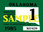 1985 Oklahoma Inspection Sticker