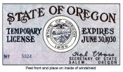 1930 Oregon Registration Sticker