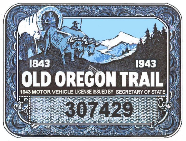 1943 Oregon Registration Sticker - Click Image to Close
