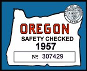 1957 Oregon Safety Check inspection sticker