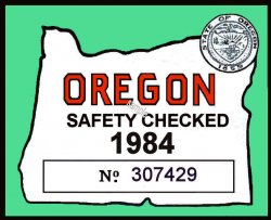 1984 Oregon Safety Check inspection sticker