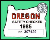 1985 Oregon Safety Check inspection sticker