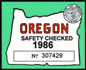 1986 Oregon Safety Check Inspection sticker