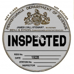 1928 Pennsylvania INSPECTION Sticker