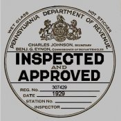 1929 Pennsylvania INSPECTION Sticker