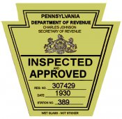 1930 Pennsylvania ORIGINAL INSPECTION STICKER