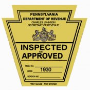 1930 Pennsylvania INSPECTION Sticker