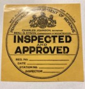 1931 Pennsylvania ORIGINAL INSPECTION STICKER