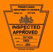 1932 Pennsylvania Spring ORIGINAL INSPECTION STICKER