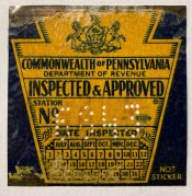 1932 Pennsylvania Fall ORIGINAL Inspection Sticker