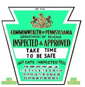 1933 Early Pennsylvania Inspection Sticker