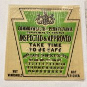 1933 Pennsylvania Fall ORIGINAL INSPECTION STICKER
