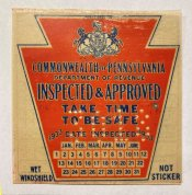1933 Pennsylvania Spring ORIGINAL INSPECTION STICKER