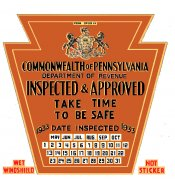 1933 Late Pennsylvania INSPECTION Sticker