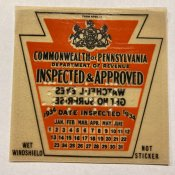 1934 Pennsylvania Spring ORIGINAL INSPECTION STICKER