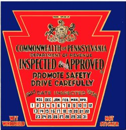 1935-36 Pennsylvania INSPECTION Sticker