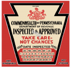 1935 Pennsylvania INSPECTION Sticker