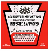 1936-37 Pennsylvania INSPECTION Sticker