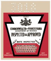 1937-38 Pennsylvania INSPECTION Sticker